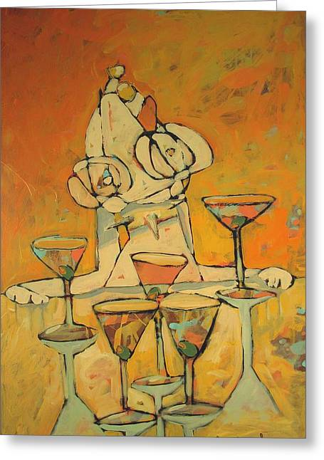Problem Paintings Greeting Cards - Happy Hour Hound Out of Control Greeting Card by Charlie Spear