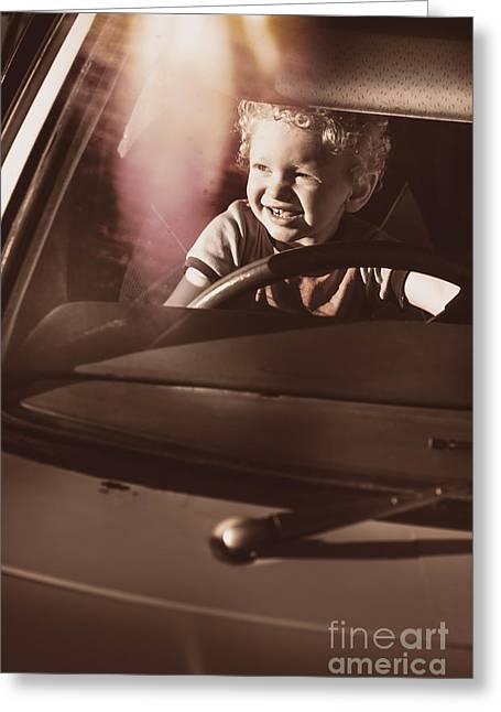 Playing Car Greeting Cards - Happy kid pretending to drive vintage car Greeting Card by Ryan Jorgensen