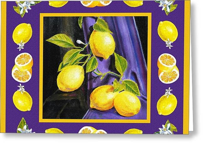 Recently Sold -  - Lemon Art Greeting Cards - Happy Lemons Dance Greeting Card by Irina Sztukowski