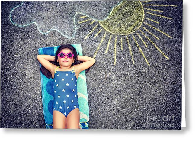 Person Greeting Cards - Happy little girl in summer vacation Greeting Card by Anna Omelchenko
