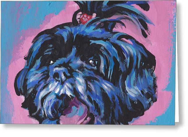 Shih-tzu Greeting Cards - Happy Little Shihtzy Greeting Card by Lea