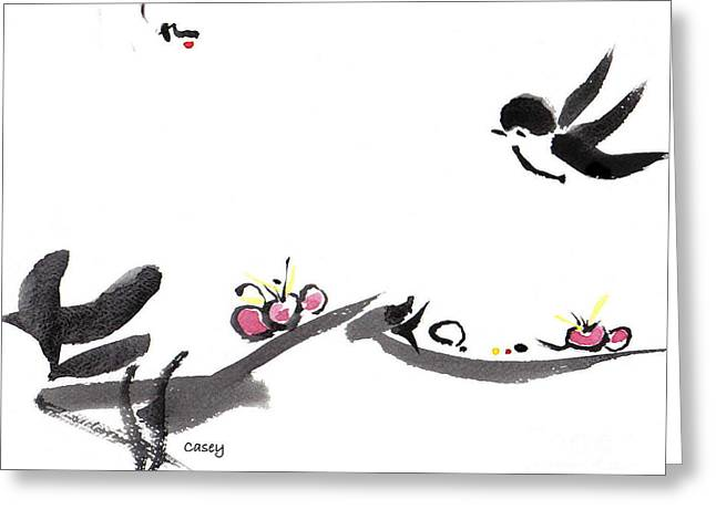Sumi Greeting Cards - Happy Little Swallow Greeting Card by Casey Shannon