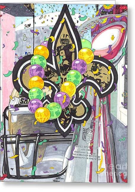 Darren Drawings Greeting Cards - Happy Lombardi Gras Greeting Card by Matthew Fields