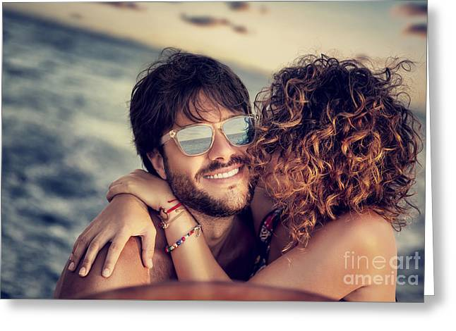Sailing Ship Greeting Cards - Happy lovers sailing Greeting Card by Anna Omelchenko