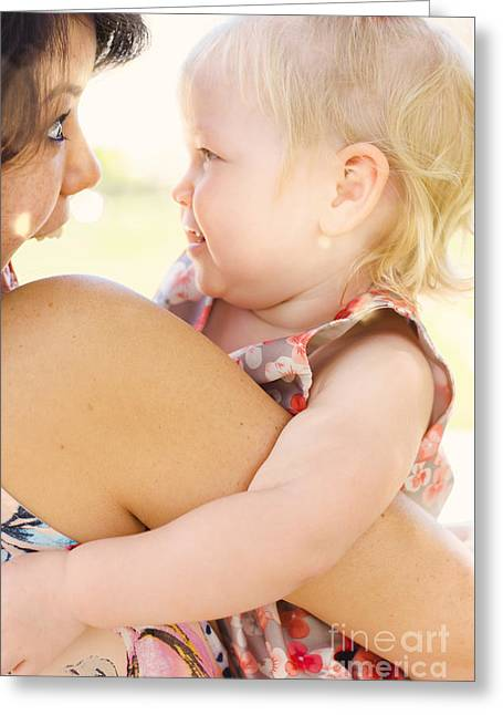 Happy Mother Holding Baby With Look Of Surprise Greeting Card by Jorgo Photography - Wall Art Gallery