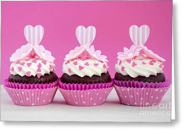 Fairy Hearts Pink Flower Greeting Cards - Pink and white cupcakes. Greeting Card by Milleflore Images