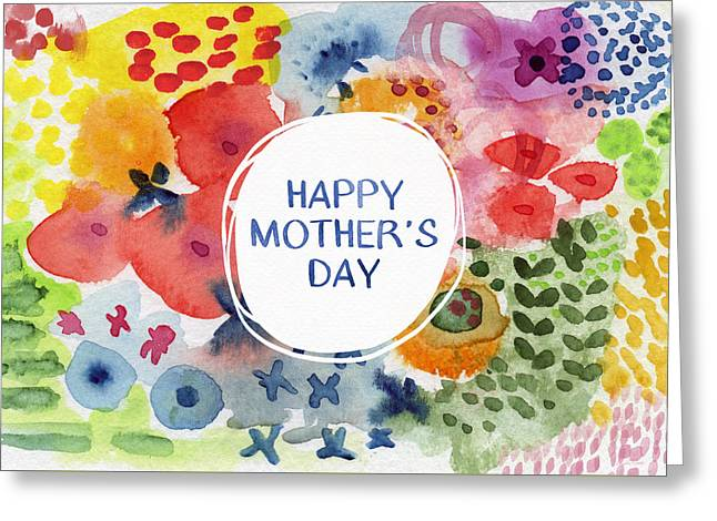 Happy Mothers Day Watercolor Garden- Art By Linda Woods Greeting Card by Linda Woods