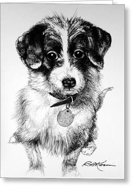Kaelin Drawings Greeting Cards - Happy Mutt Greeting Card by Roy Kaelin
