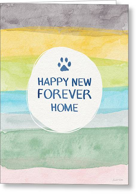 Happy New Forever Home- Art By Linda Woods Greeting Card by Linda Woods
