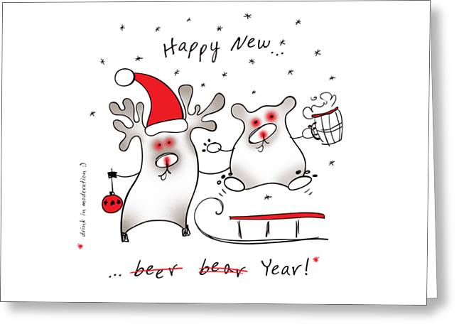 Joke Drawings Greeting Cards - Happy New Greeting Card by Tatiana Ivchenkova