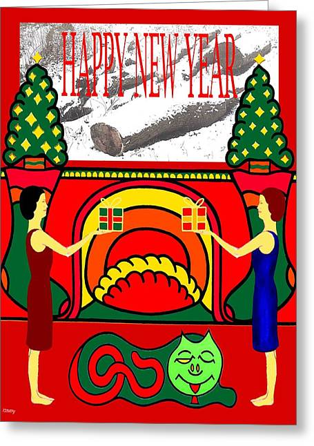 Celebration Art Print Greeting Cards - Happy New Year 13 Greeting Card by Patrick J Murphy