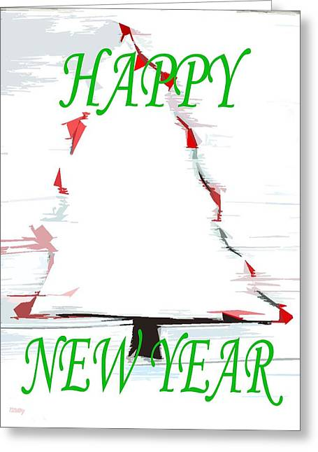 Snow Tree Prints Paintings Greeting Cards - Happy New Year 25 Greeting Card by Patrick J Murphy