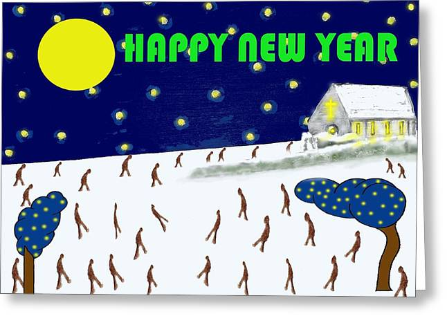 Chapel Mixed Media Greeting Cards - Happy New Year 79 Greeting Card by Patrick J Murphy