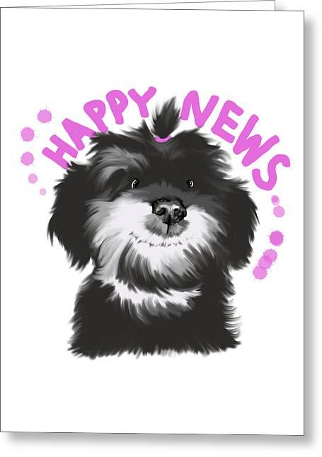 Happy News Greeting Card by Piia Valitalo