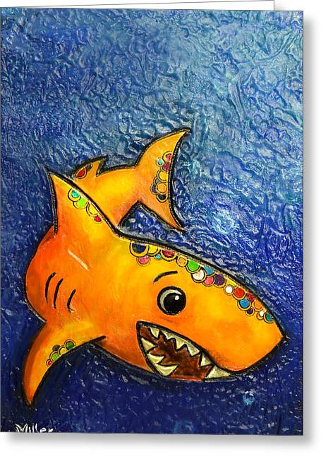 Shark Themed Greeting Cards - Happy orange shark Greeting Card by Victoria Miller