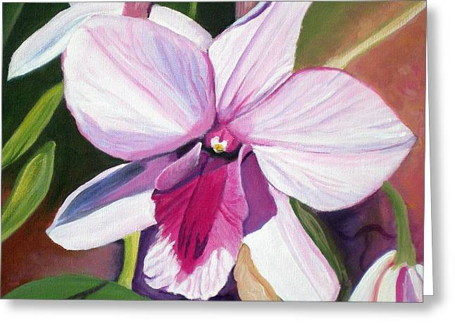 Purple Floral Greeting Cards - Happy Orchid Greeting Card by Marionette Taboniar