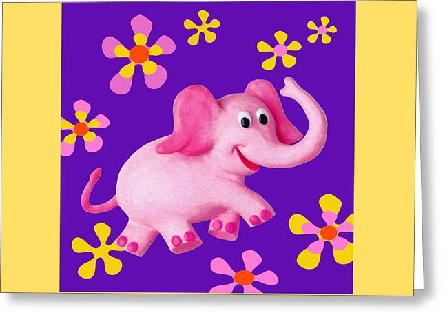 Book Cover Art Greeting Cards - Happy Pink Elephant Greeting Card by Amy Vangsgard