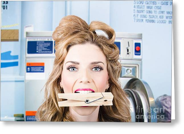 Housekeeper Greeting Cards - Happy pinup girl finishing laundry cleaning Greeting Card by Ryan Jorgensen