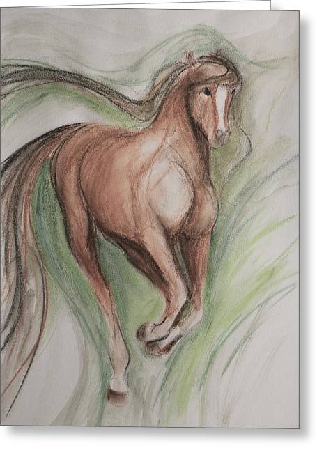 Dressage Drawings Greeting Cards - Happy Prance Greeting Card by Jennifer Fosgate