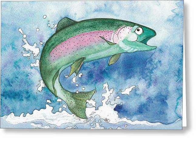 Rainbow Trout Greeting Cards - Happy Rainbow Trout Greeting Card by Debi Hammond