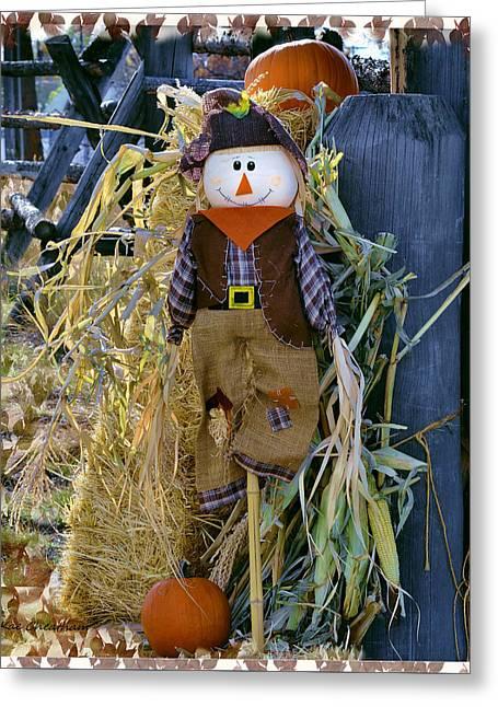 Bale Digital Greeting Cards - Happy Scarecrow Greeting Card by Kae Cheatham