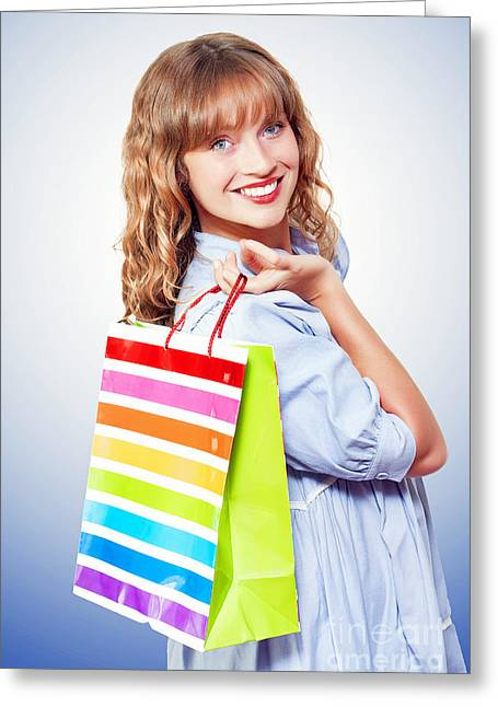 Compulsive Buying Greeting Cards - Happy shopaholic returning with her purchases Greeting Card by Ryan Jorgensen