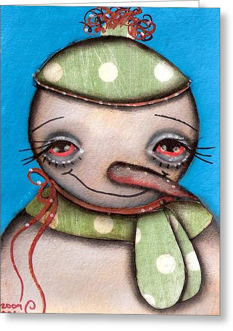 Paiting Greeting Cards - Happy Snow Man Greeting Card by  Abril Andrade Griffith