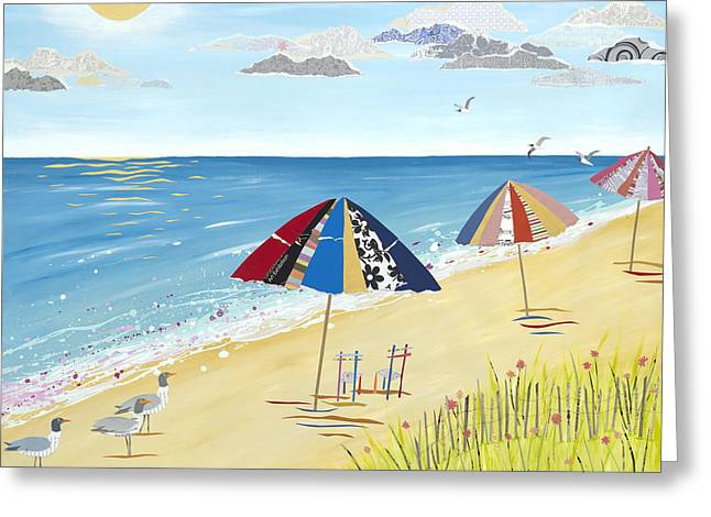 Ocean . Beach Decor Mixed Media Greeting Cards - Happy To Be Greeting Card by Jennifer  Peck
