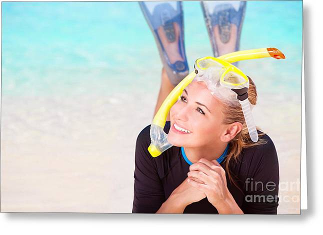Snorkel Greeting Cards - Happy tourist girl snorkeling  Greeting Card by Anna Omelchenko