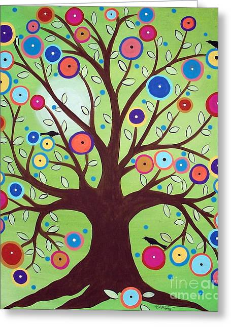 Unique Art Paintings Greeting Cards - Happy Tree Greeting Card by Karla Gerard