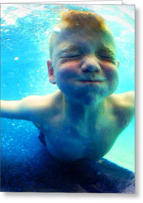 Pink Cheeks Greeting Cards - Happy Under Water Pool Boy Vertical Greeting Card by Tony Rubino