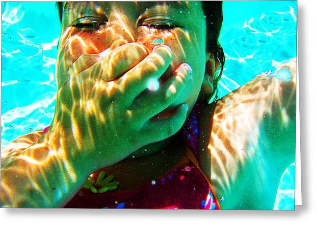 Floating Girl Greeting Cards - Happy Under Water Pool Girl Horizontal Greeting Card by Tony Rubino