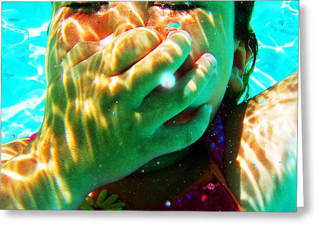 Floating Girl Greeting Cards - Happy Under Water Pool Girl Square Greeting Card by Tony Rubino