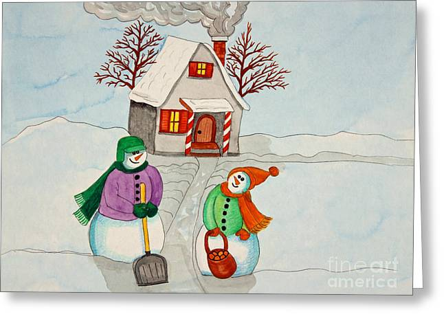Appleton Paintings Greeting Cards - Happy Winter Home Greeting Card by Norma Appleton