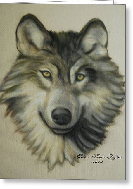 Leaders Pastels Greeting Cards - Happy Wolf Greeting Card by Linda Diane Taylor