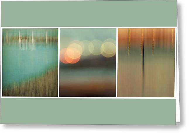 Exposure Greeting Cards - Harbor Abstracts Triptych Greeting Card by Patricia Strand