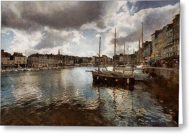 Old Masters Greeting Cards - Harbor at Honfleur Greeting Card by Joe Bonita