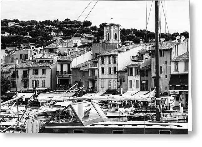 Town Square Greeting Cards - Harbor Boats in the South of France - Square Greeting Card by Georgia Fowler
