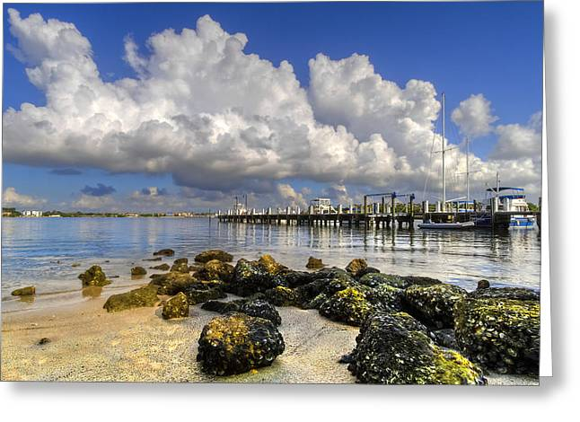 Boats At Dock Greeting Cards - Harbor Clouds at Boynton Beach Inlet Greeting Card by Debra and Dave Vanderlaan