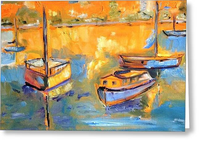 Absorb Paintings Greeting Cards - Harbor Day Greeting Card by Constance Paul
