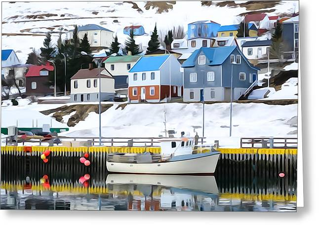 Harbor In Siglufjordur, Iceland Greeting Card by Tom and Pat Cory