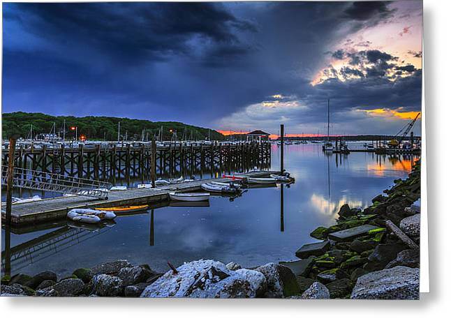 Rock Spring Greeting Cards - Harbor in Twilight Greeting Card by Mike Lang