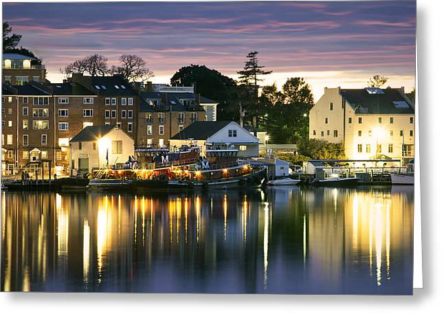 Harbor Lights Greeting Card by Eric Gendron
