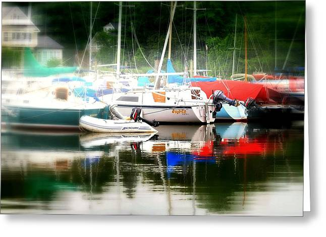 Boats In Harbor Greeting Cards - Harbor Masts Greeting Card by Diana Angstadt