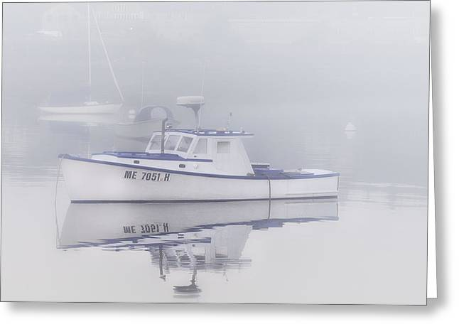Fog At Sea Greeting Cards - Harbor Mist   Greeting Card by Thomas Schoeller