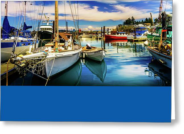 Harbor On Guemes Channel Greeting Card by TL  Mair
