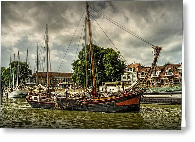 Sailboat Art Greeting Cards - Harbor Sail Boats on a Canal in Amsterdam Greeting Card by Randall Nyhof