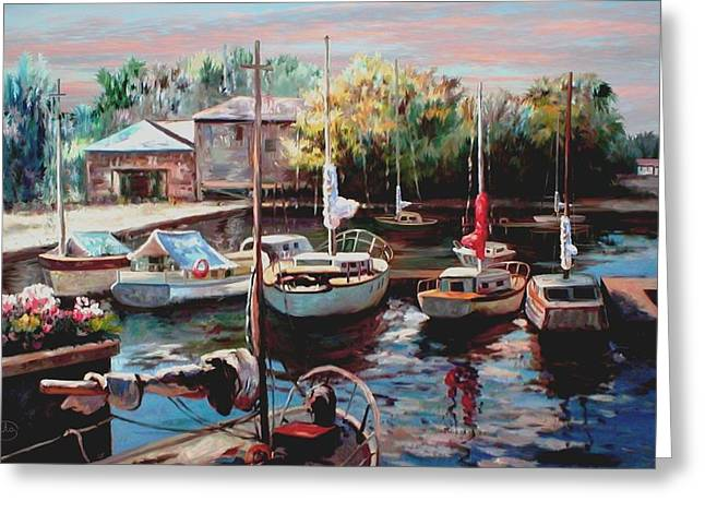 Harbor Sailboats At Rest Greeting Card by Ron Chambers