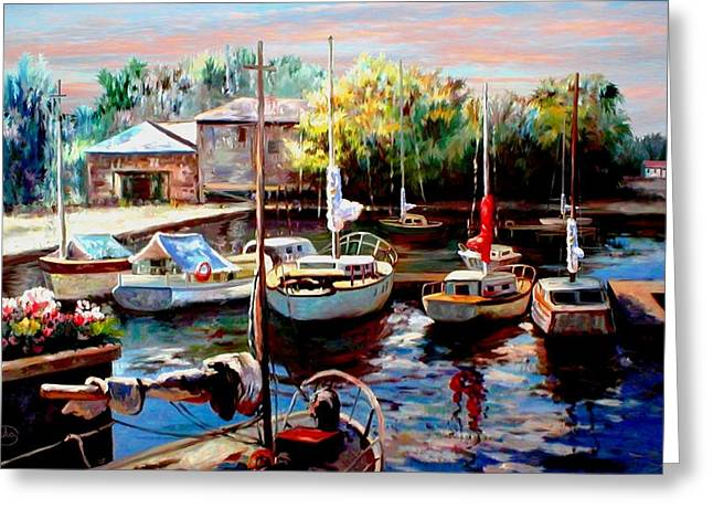 Sailboats In Harbor Greeting Cards - Harbor Sailboats at Rest Greeting Card by Ronald Chambers