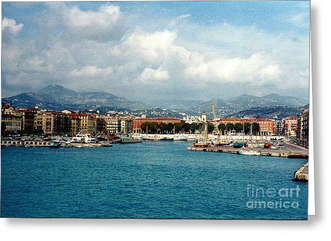 Mediterranean Landscape Digital Art Greeting Cards - Harbor Scene in Nice France Greeting Card by Nancy Mueller